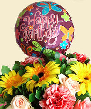 Designers Choice Custom Hand Tied Bouquet with a Big Mylar Helium Balloon