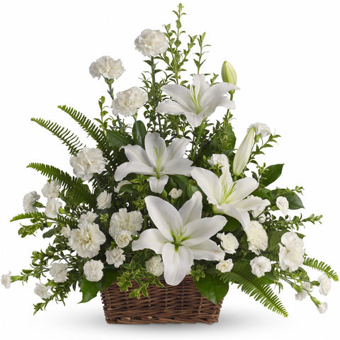 Peaceful White Lilies Basket Arrangement