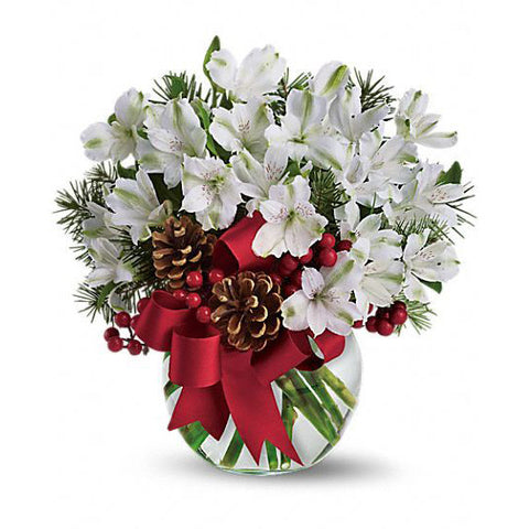 White Astromeria Holiday Arrangement