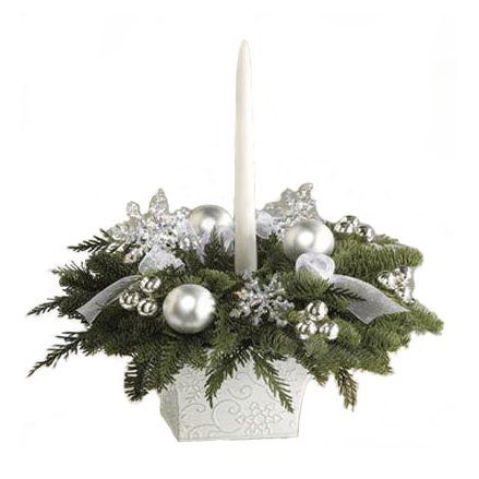 White Candle Holiday Centerpiece