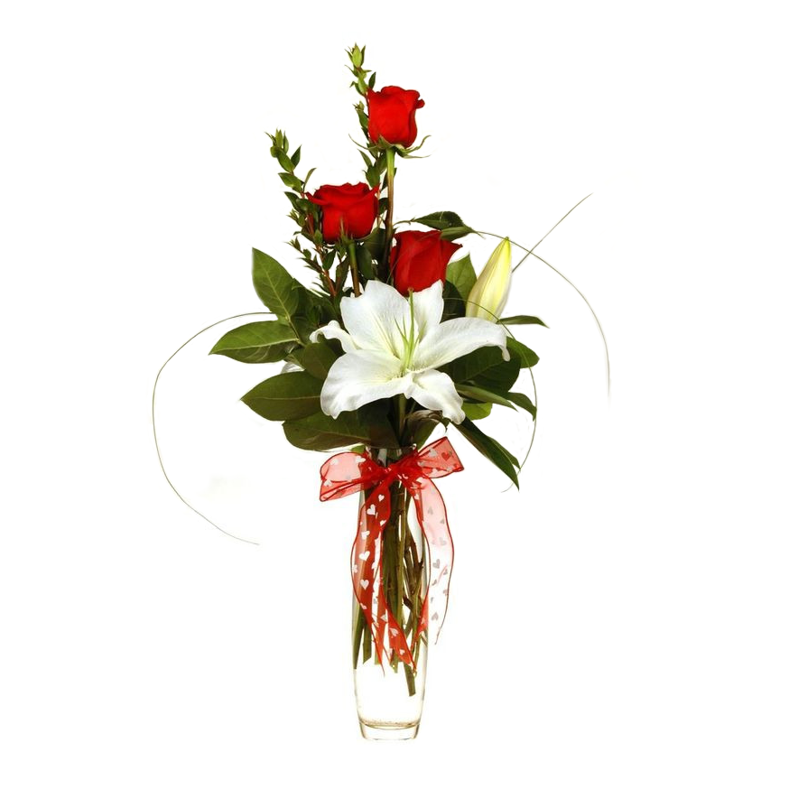 Rose and Lily Vase Arrangement