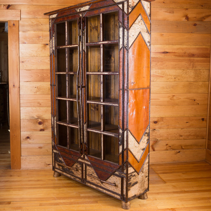 Adirondack Rustic Birch Bark Double Door Cabinet