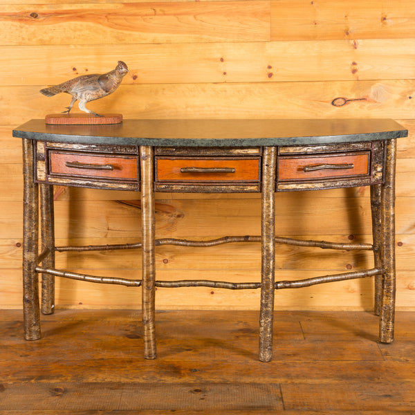 Cascade Bowfront Console Table with Adirondack Granite Top