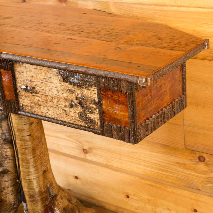 Yellow Birch Root Bowfront Console Table