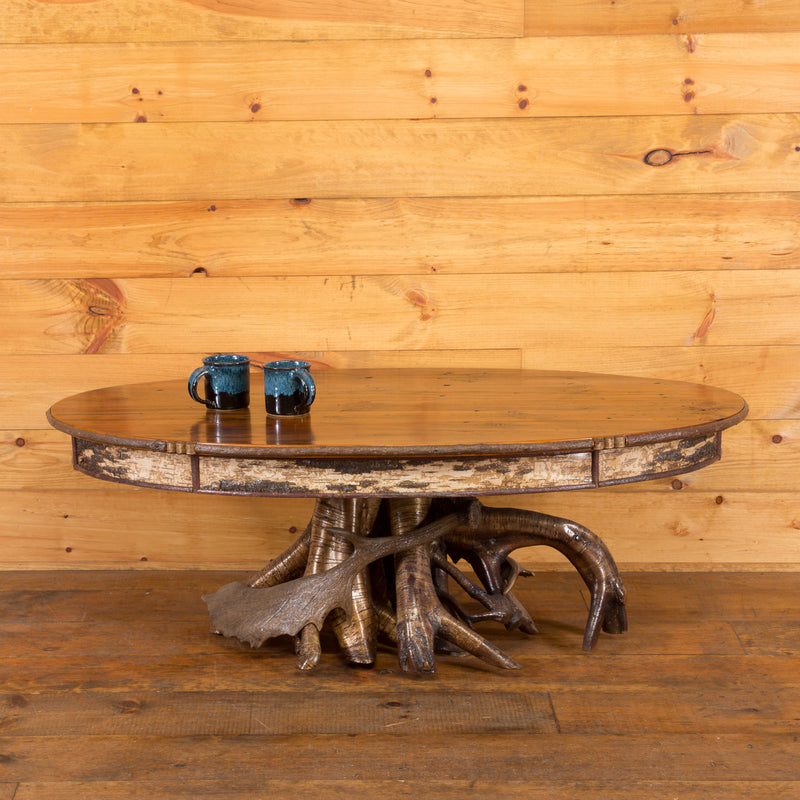 ... Yellow Birch Root Base Oval Coffee Table ...