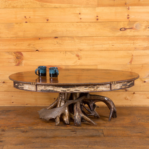 Yellow Birch Root Base Oval Coffee Table