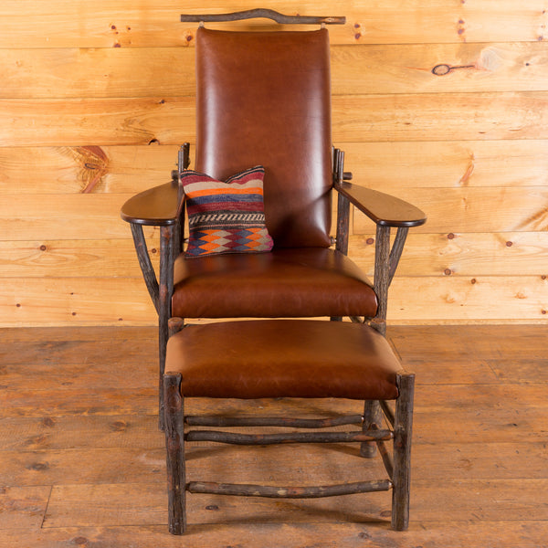 Morris Chair and Ottoman in Hickory with Leather Upholstery