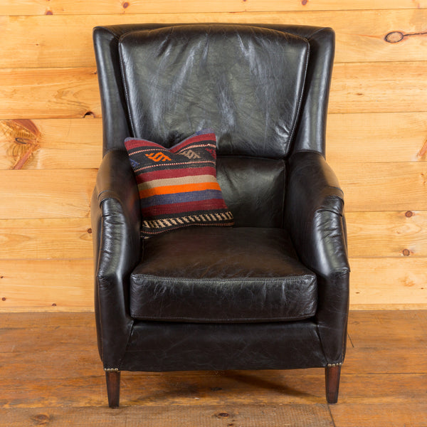 Modern Wingback in Black Leather