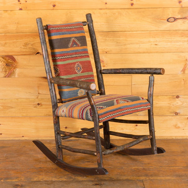 Winslow Hickory Rocker with Antique Kilim Upholstery Seating