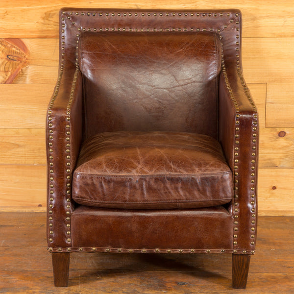 Studded Squareback Leather Club Chair