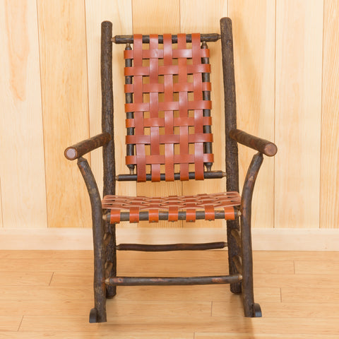 Winslow Rocker in Hickory with Rich Brown Leather Strap Seating