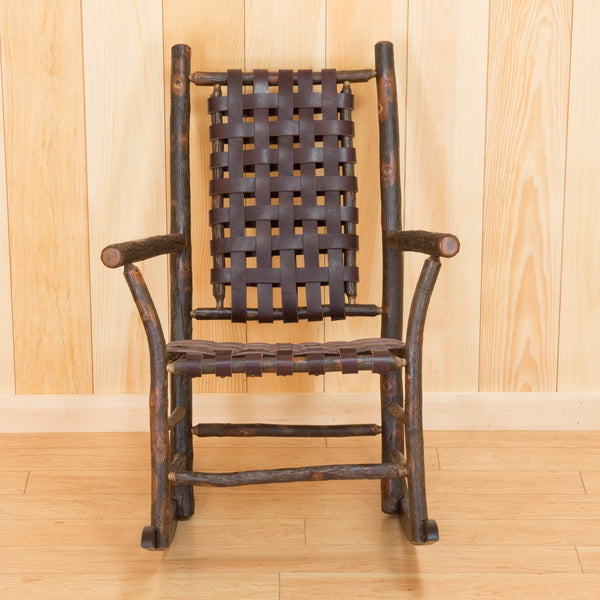 Winslow Rocker in Hickory with Dark Brown Leather Strap Seating