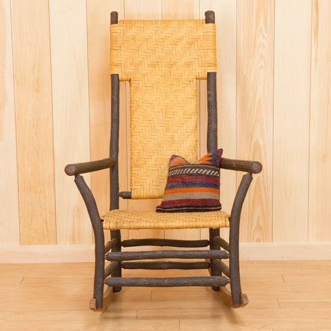 Tall Back Porch Rocker in Hickory and Splint