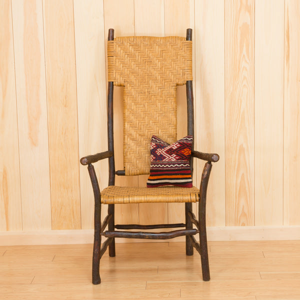 Tall Back Porch Chair in Hickory and Splint