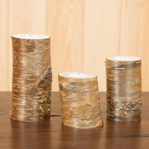 Adirondack Birch Votive Holders