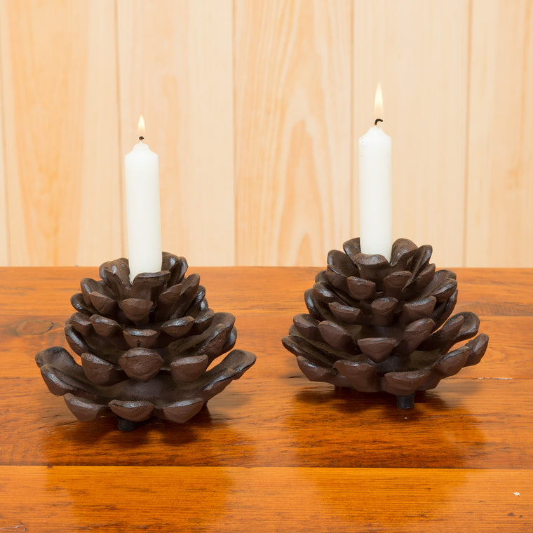 Iron Pine Cone Taper Holder