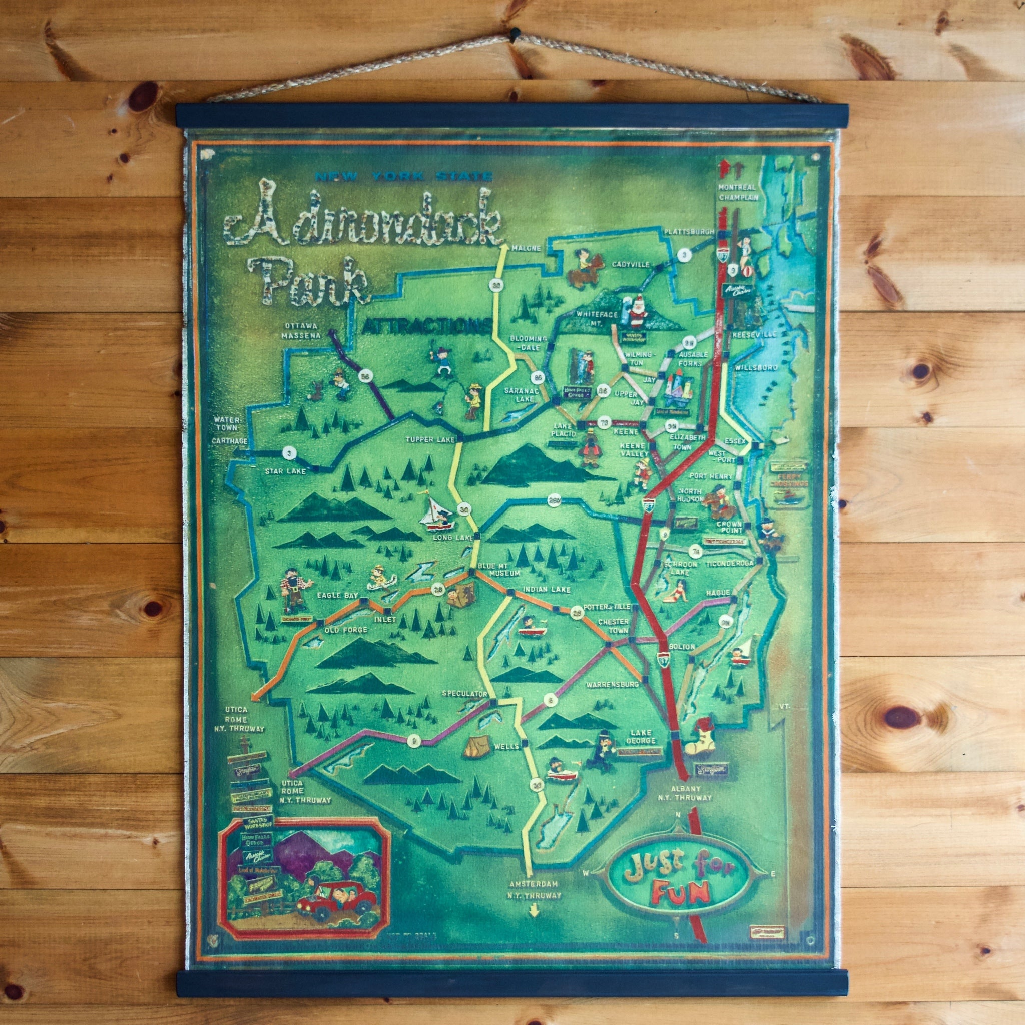 Adirondack Park Fun Map Poster Wall Chart