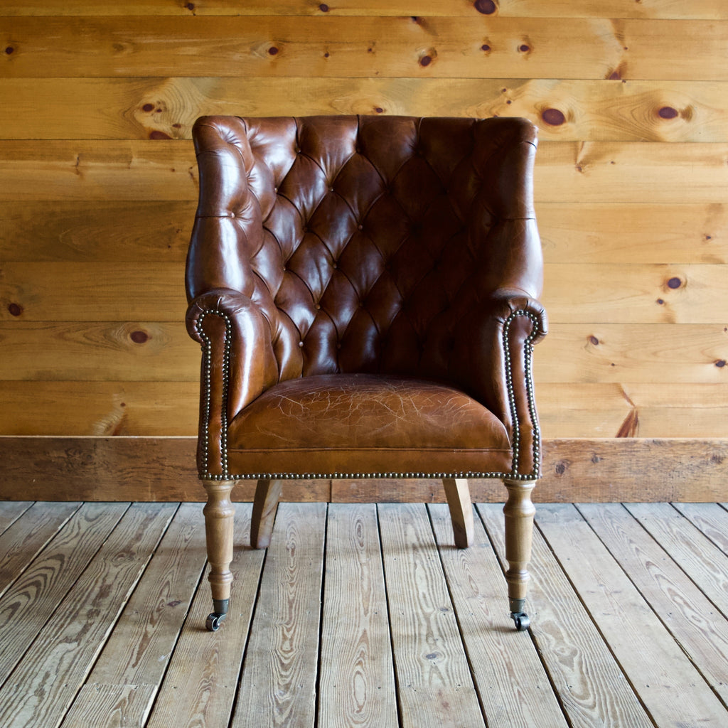 Vintage Cigar Brown Leather Tufted Club Chair with High Back, Nailhead Trim and Castors