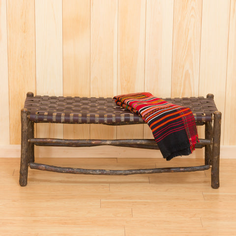 Winslow Bench with Leather Strap Seat