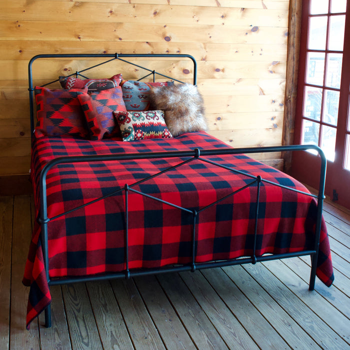 Rustic Industrial Black Wrought Iron Bed with Hardwood Slats