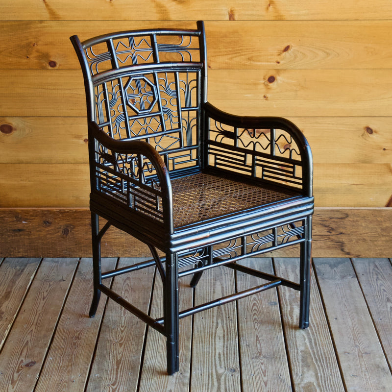 Chinoiserie Asian-Inspired Rattan Arm Chair with Intricate Twig Details
