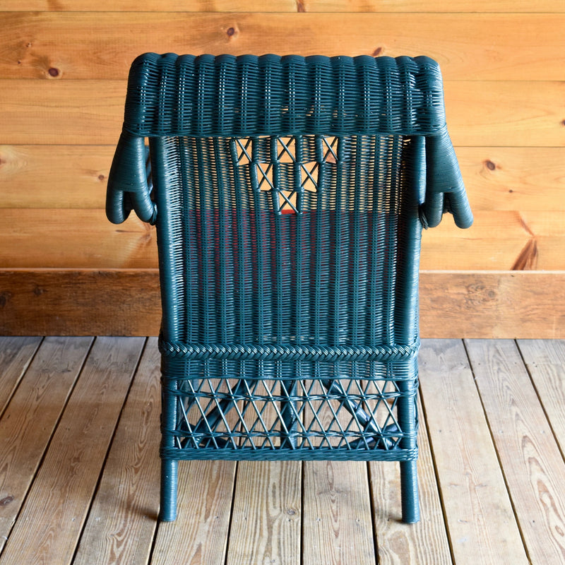 Green Wicker Infinity Porch Chair with Red Seat Cushion