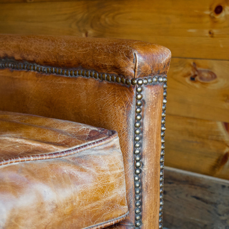 Buffalo Leather Loveseat with Nailhead Trim