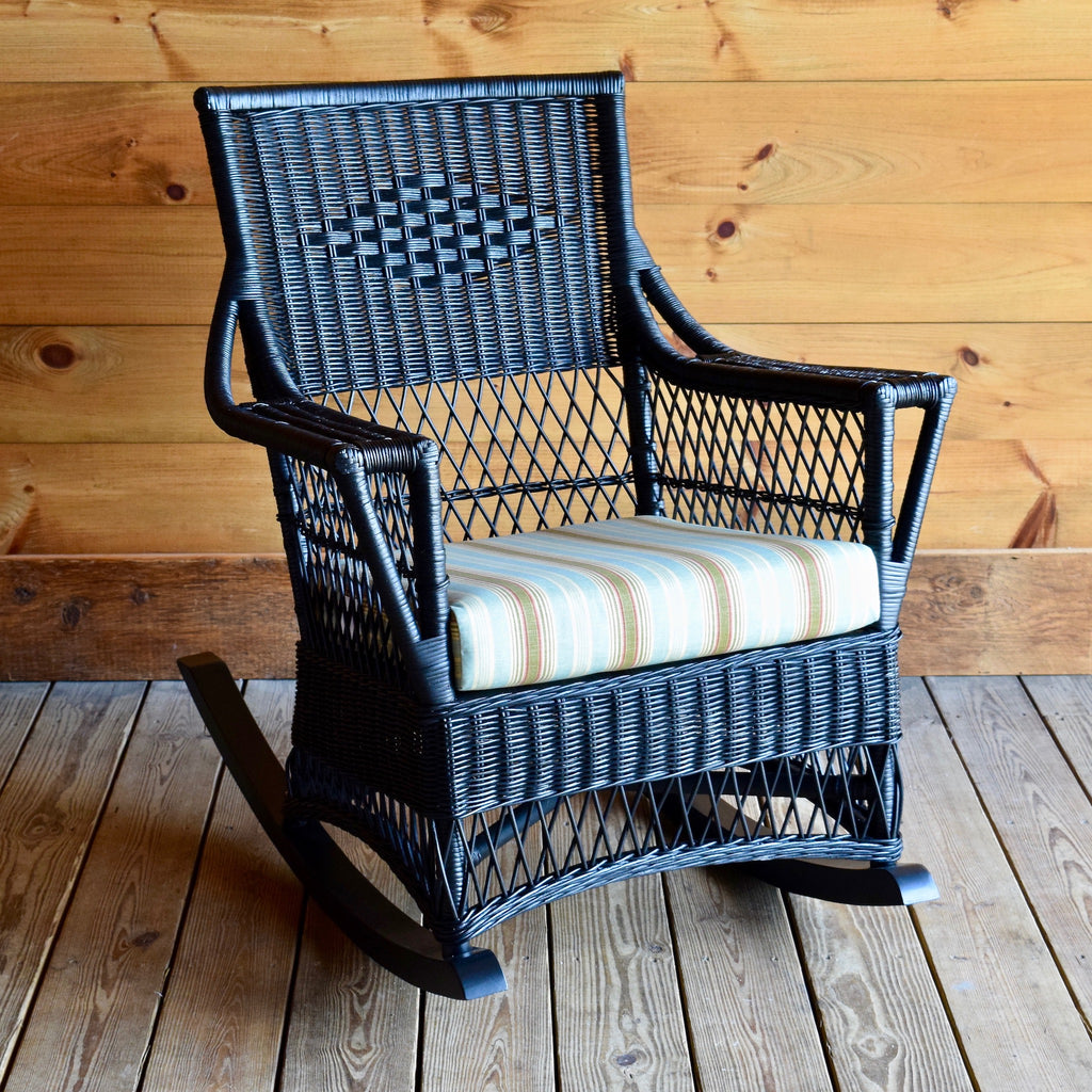 Classic Black Wicker Rocker with Polyester Seat Cushion