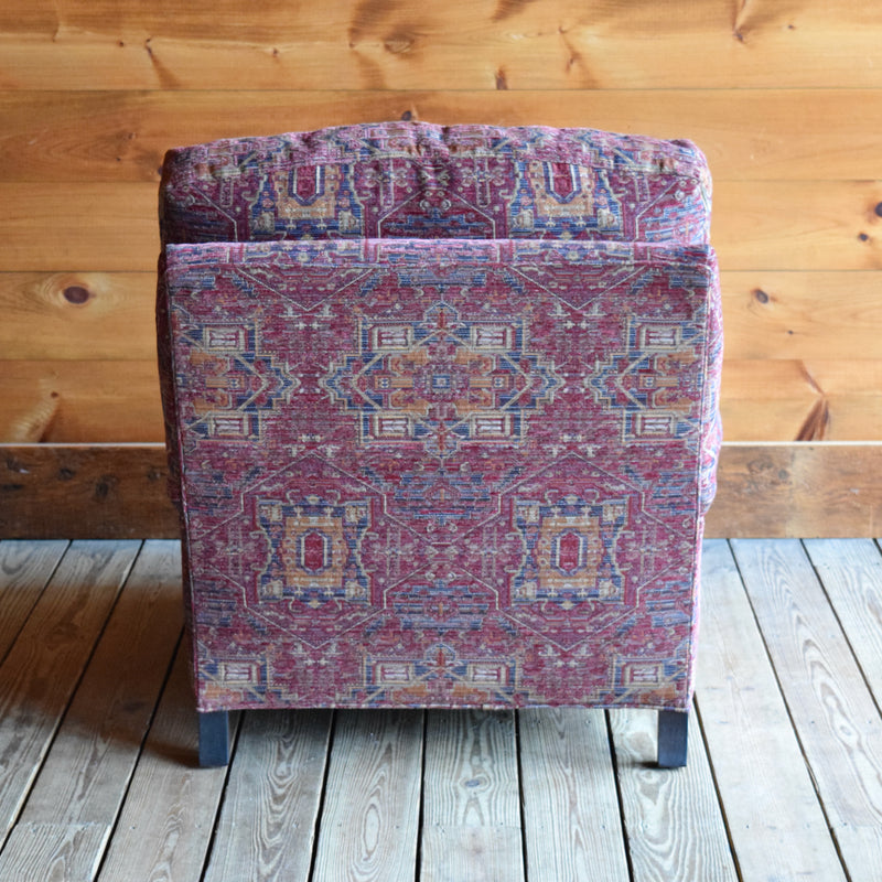 Oversized Lounge Chair with English Arms and Turned Legs on Casters in Textured Rug Chenille