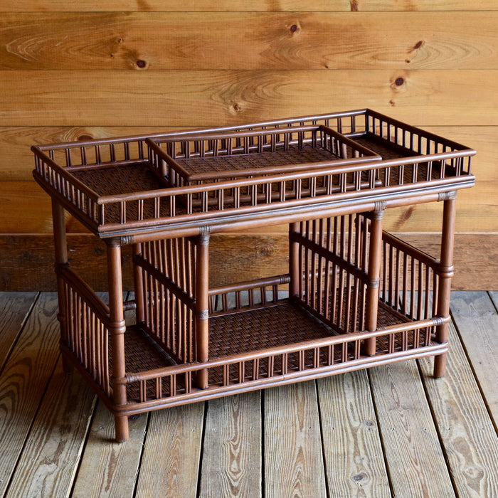 Wicker Pole-Rattan Coffee Table with Tray and Coffee Brown Finish