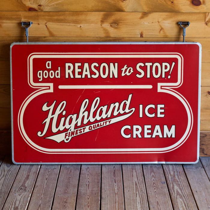 Vintage Highland Ice Cream Dairy Metal Sign