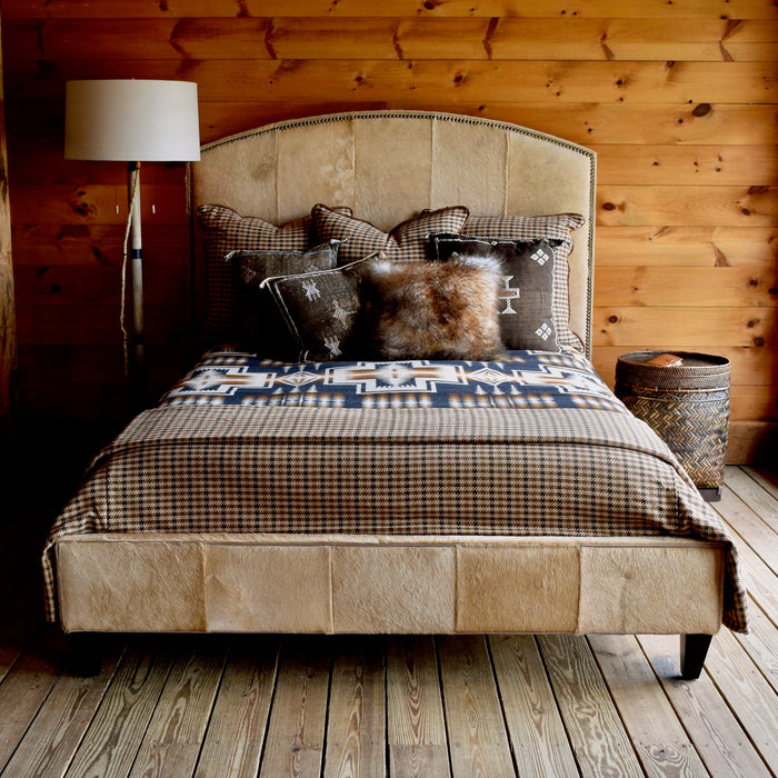 Rustic Queen Beige Cowhide Bed with Sustainable Hardwood Frame and Nailhead Trim