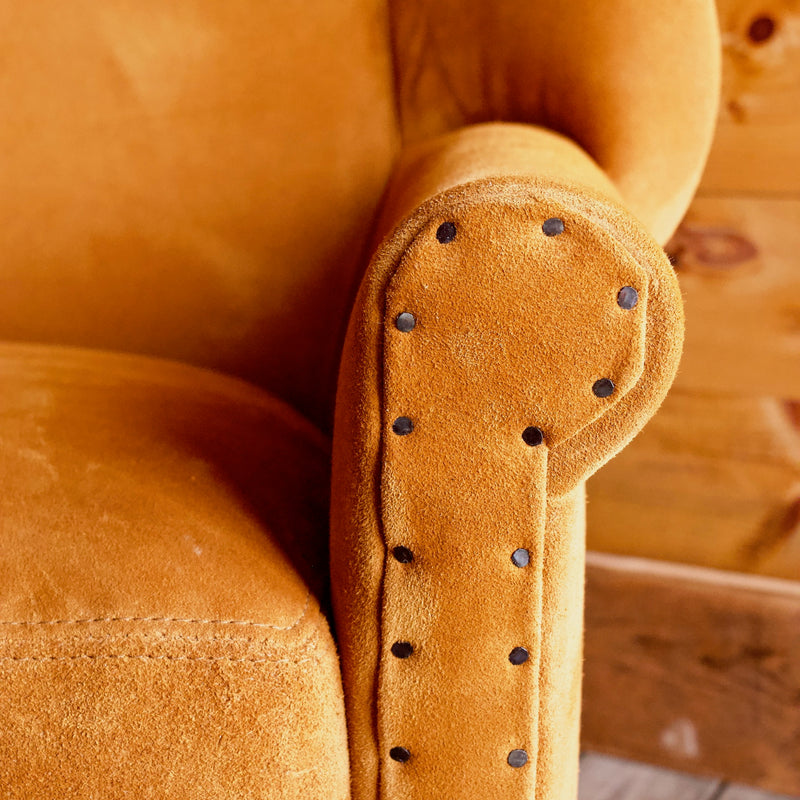 Butterscotch Leather Suede Wingback Arm Chair with Oak Legs and Cut Tack Nail Trim