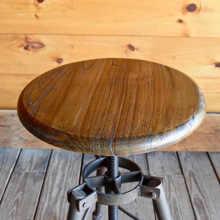 Adjustable Reclaimed Wood and Iron Stool and Side Table