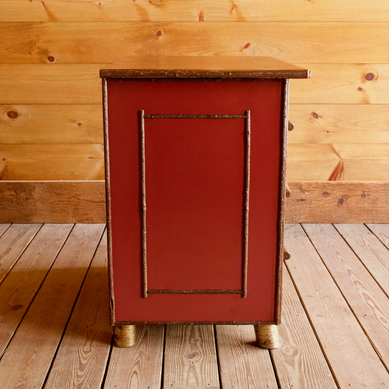 Red Painted Hawk Island Night Stand Dresser with White Birch and Willow Details