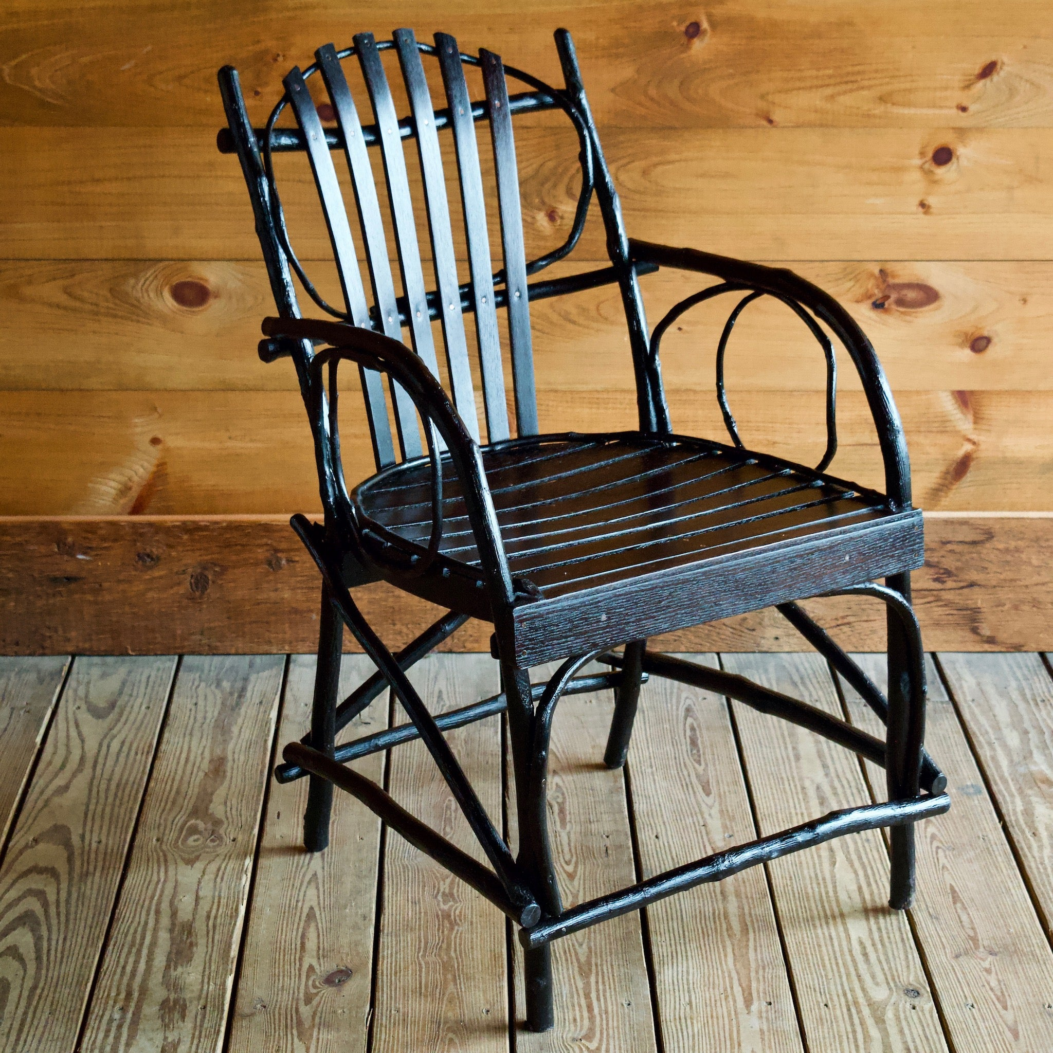 Old Forge Hickory And Oak Arm Chair Steam Bent Hickory