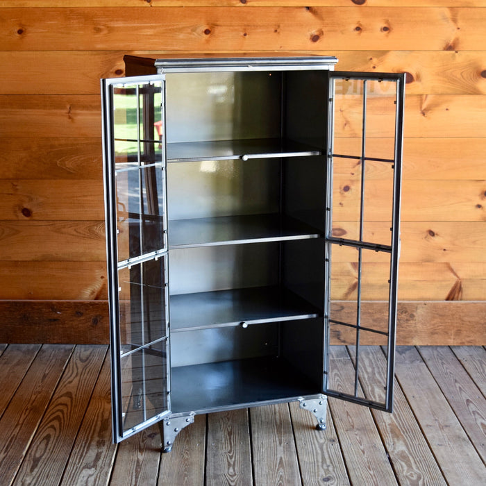 Two Glass Door Apothecary Storage Cabinet