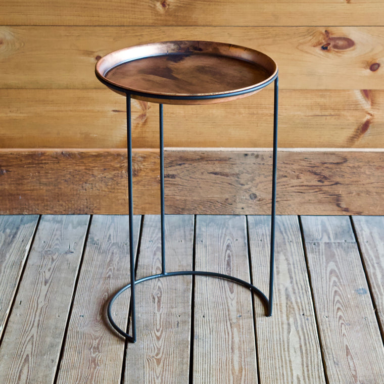Set of Three Copper Nesting Tables with Iron Bases