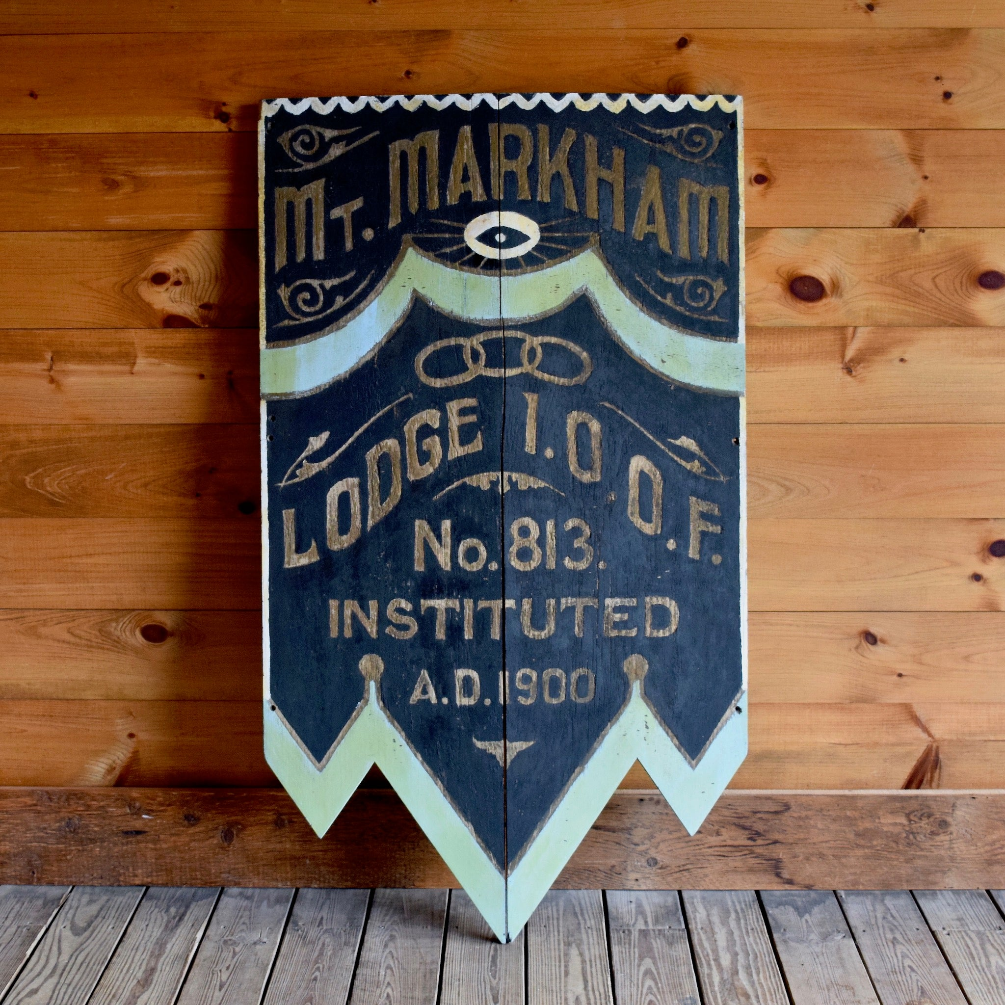 Antique c. 1900s Independent Order of Odd Fellows Mt Markham Lodge Sign