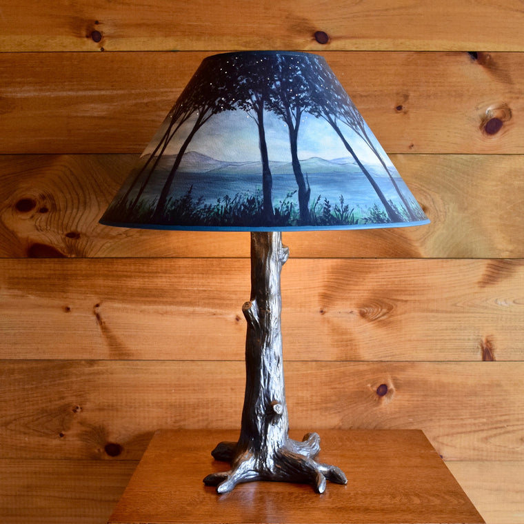 Bronze Tree Lamp with Handpainted  Shade
