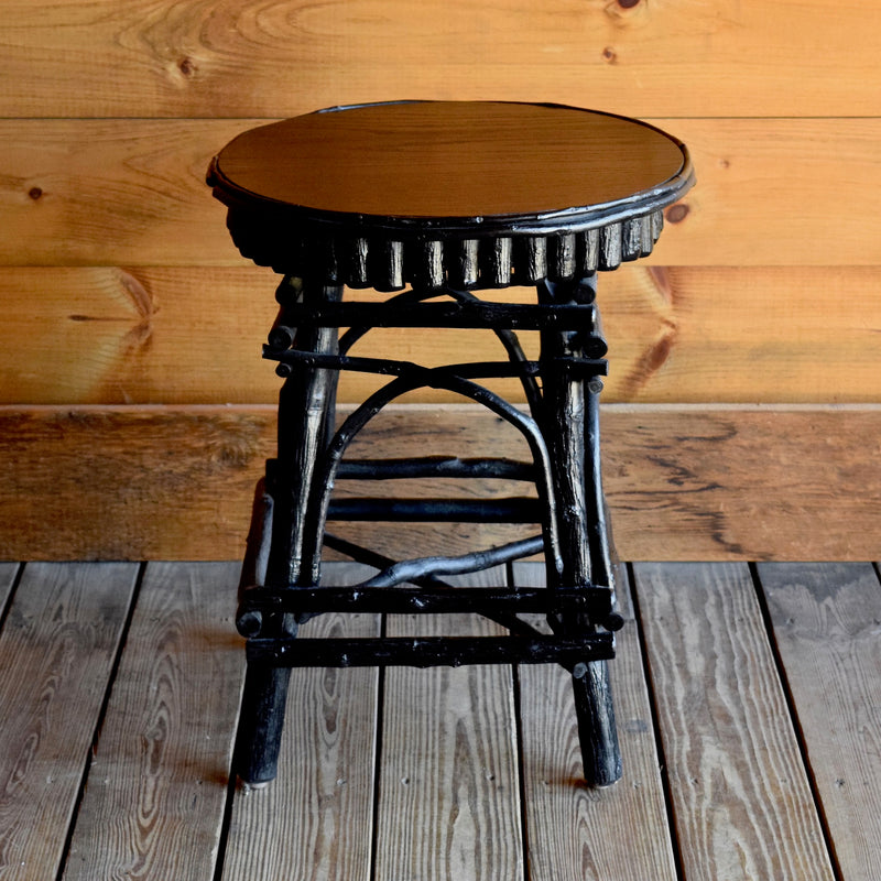 Black Steam Bent Hickory Side Table with Oak Top