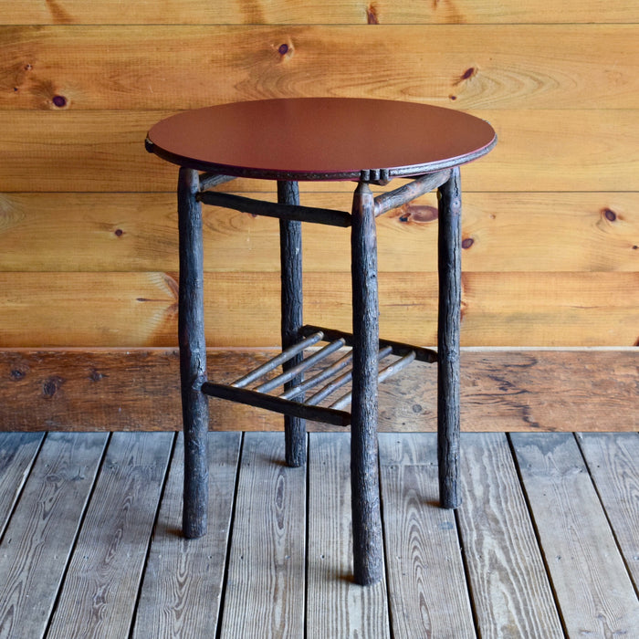 Rustic Adirondack Hickory Side Table with Red Painted Top