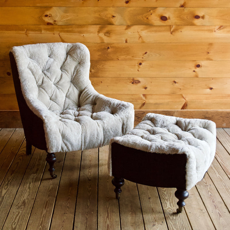 Phenomenal Shearling And Leather Chair Ottoman Gmtry Best Dining Table And Chair Ideas Images Gmtryco