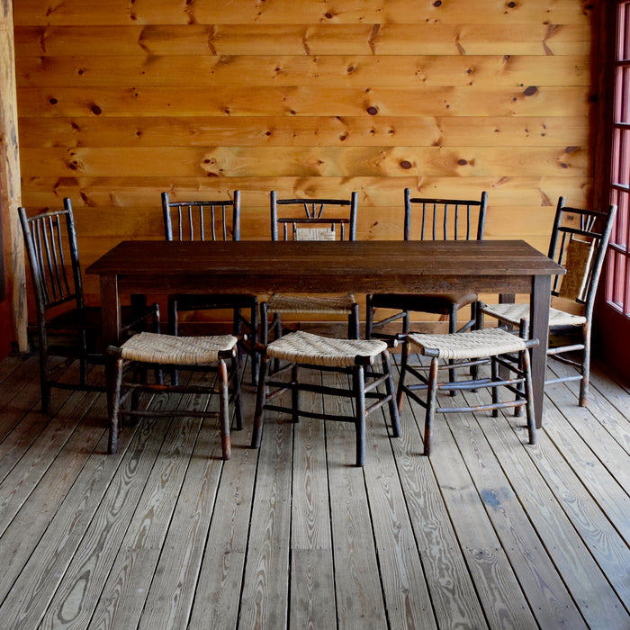 Rustic Country Farm Table Handcrafted from Reclaimed Pine Beams