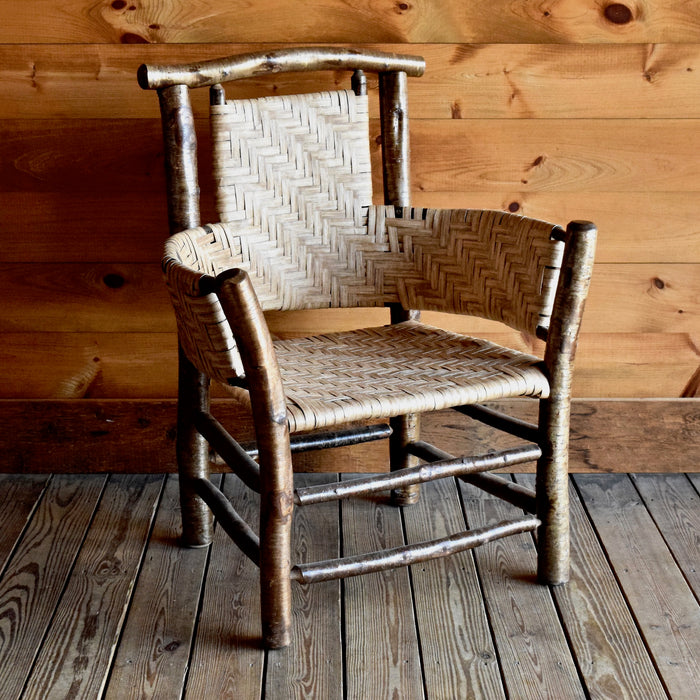 Grand Yellow Birch and Paper Splint Arm Chair Inspired by Adirondack Rustic Maker Lee Fountain
