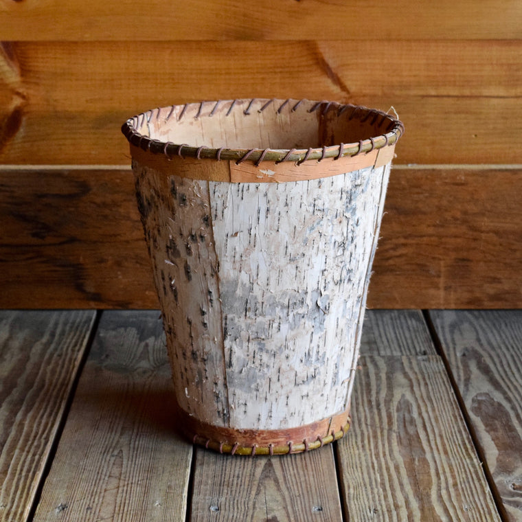 Birch Bark Waste Basket