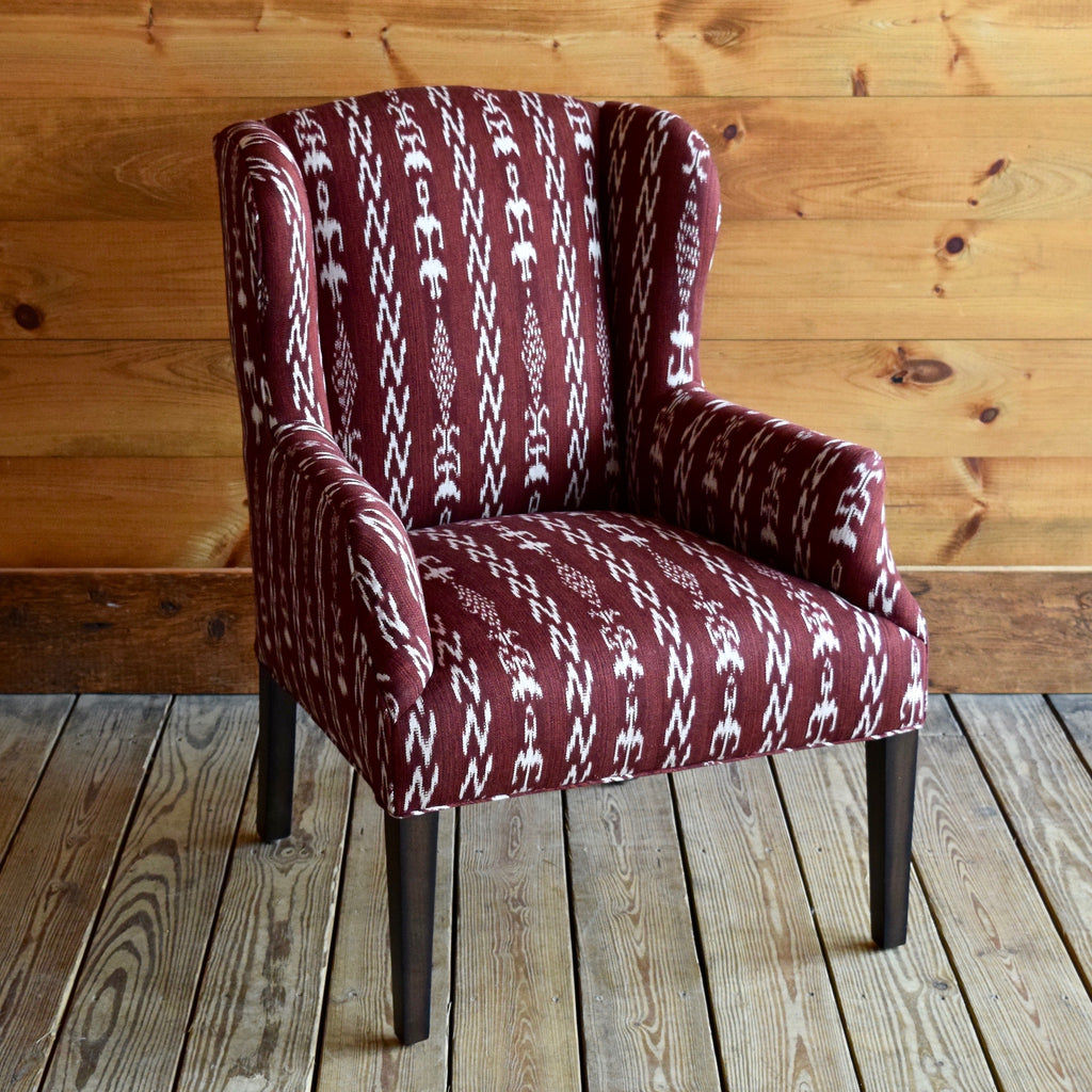 Ikat Pattern Butterfly Arm Chair with Antique Walnut Legs