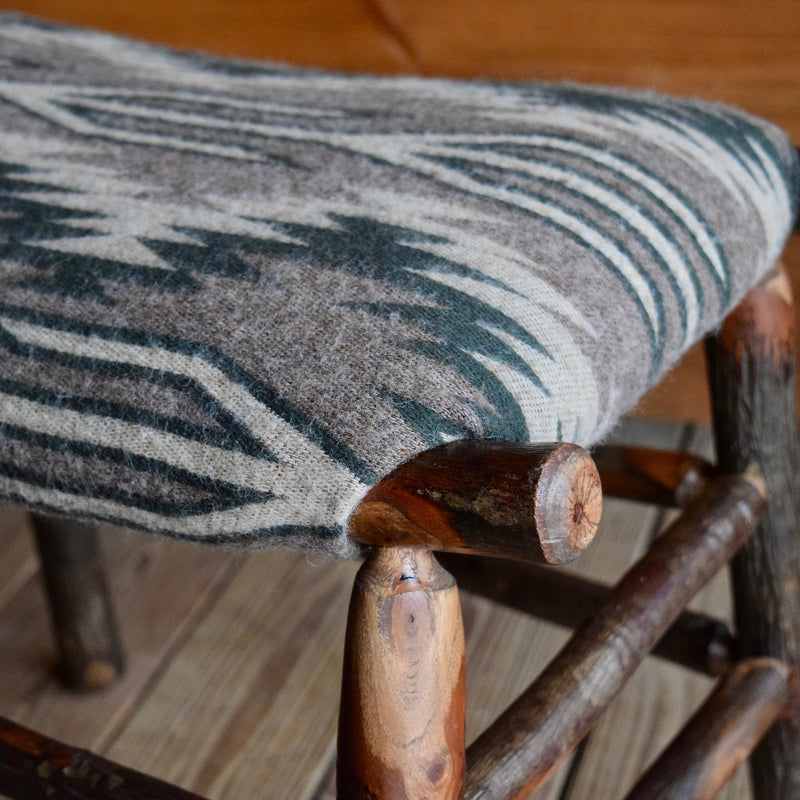 Rustic Hickory Stool with Blanket Wool Seat
