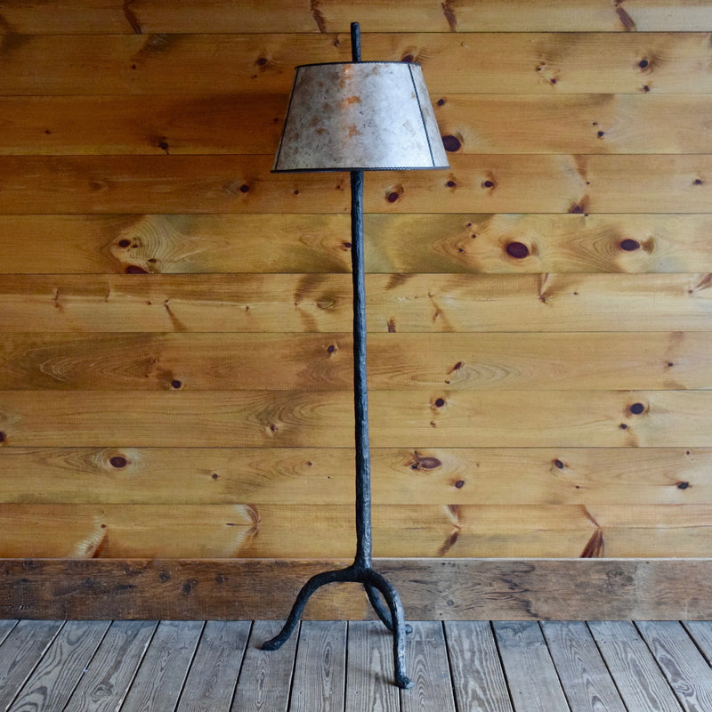 Black and Brass Iron Wood Grain Tree Style Floor Lamp with Mica Shade