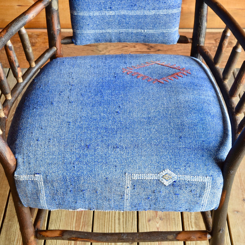 Hickory Keene Valley Chair Upholstered in Blue Cactus Silk Rug